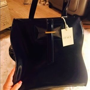 Large Navy Patent Leather Italian Handbag NWOT